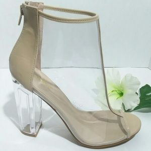 COPY - Bamboo Clear Bootie Heels size 9